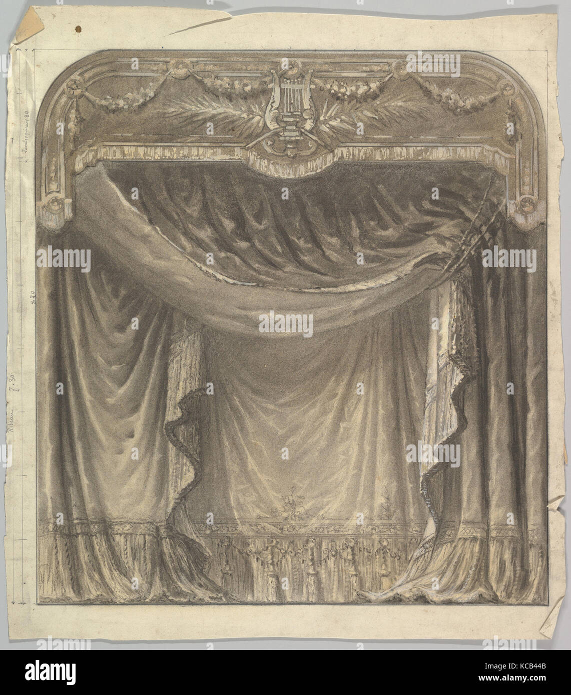 Design for a Stage Set, 1830–90, Drawings, Eugène Cicéri (French, Paris 1813–1890 Fontainebleau - Stock Image