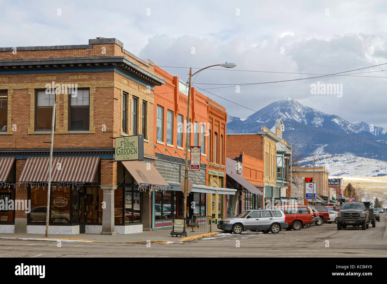 LIVINGSTON, MONTANA, January 25, 2017 : Downtown Livingston. Originally called called Clark City after Heman Clark, - Stock Image