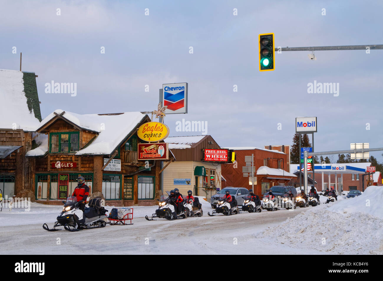 WEST YELLOWSTONE, MONTANA, January 26, 2017 : During the winter, visitors often access the Yellowstone National - Stock Image