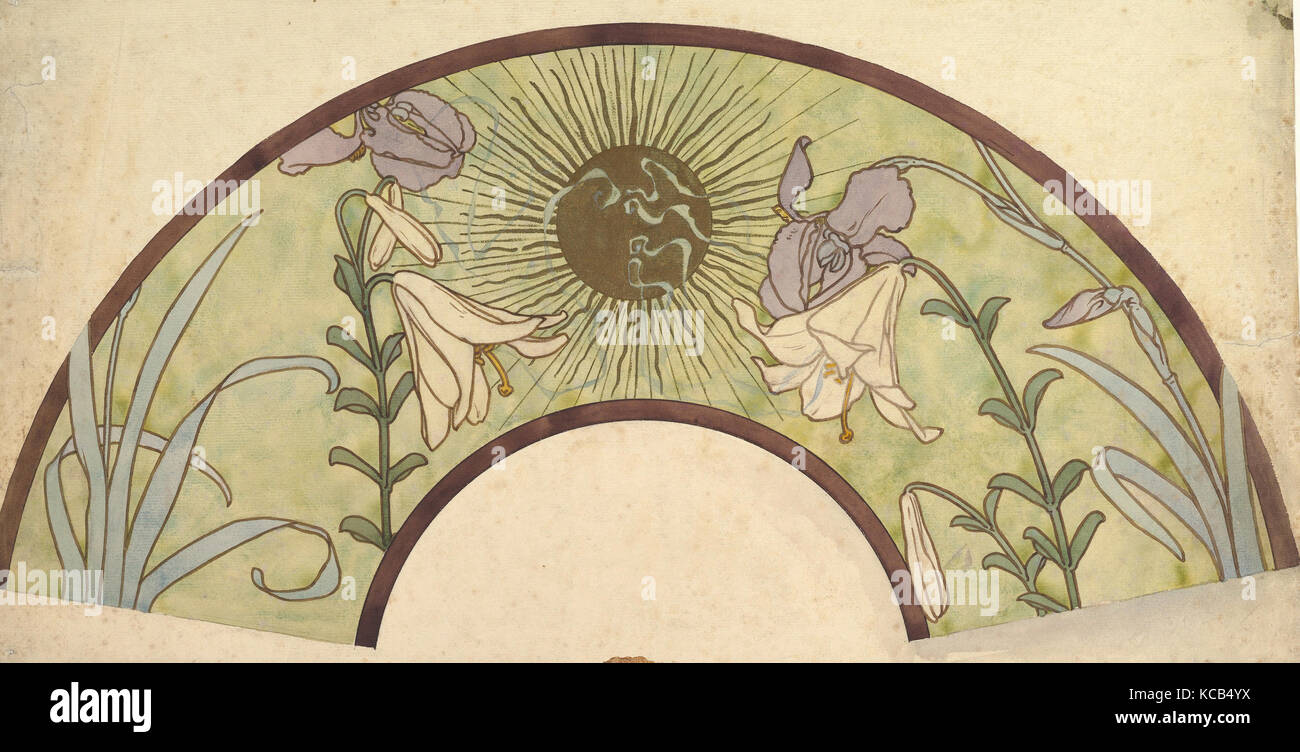Design for a Fan with Sunburst, Lilies, and Irises, Alphonse Mucha, late 19th–mid-20th century - Stock Image