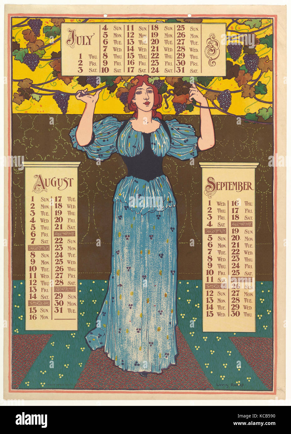 July, August, September, 1896, Lithograph, Sheet: 19 3/16 × 13 3/4 in. (48.8 × 35 cm), Louis John Rhead - Stock Image