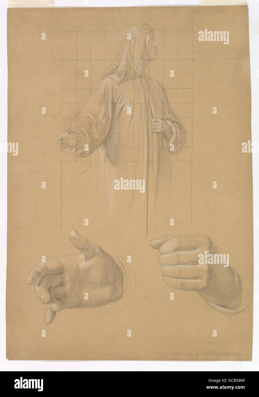 Study of a Standing Man with Headcloth and Two Studies of his Hands, Wilhelm Schadow, early to mid-19th century - Stock Image