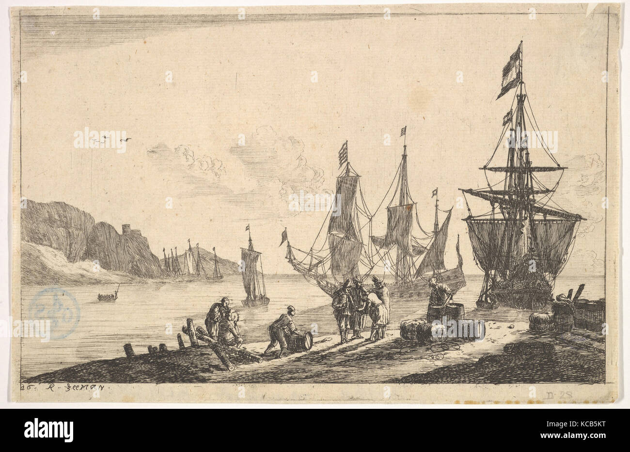 Bay with Sailing Vessels, Reinier Nooms, called Zeeman, 17th century - Stock Image