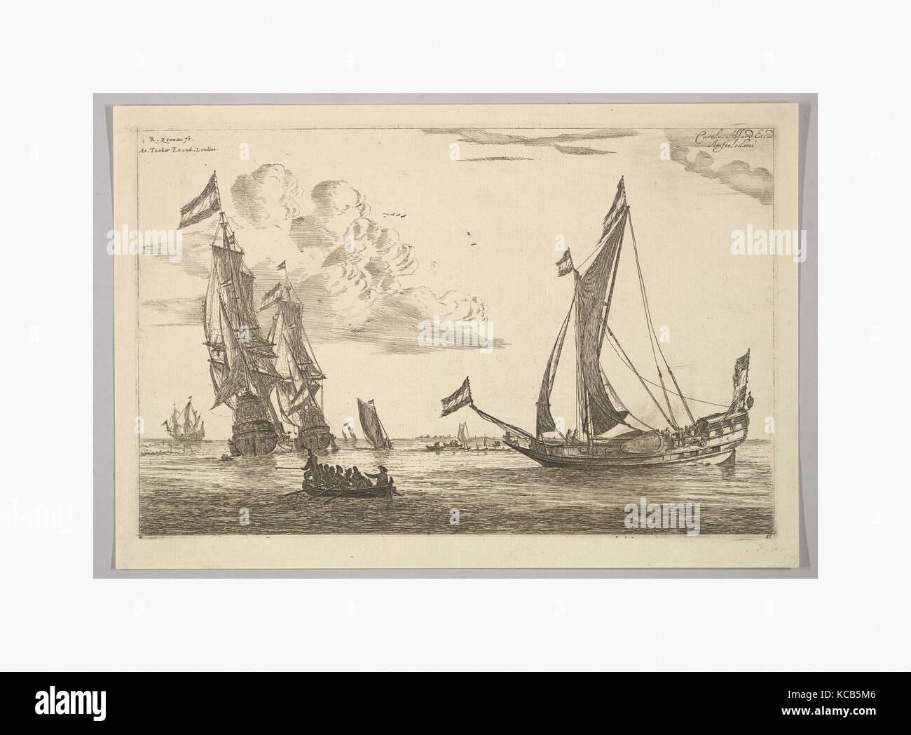 Sailing Vessels and Sloop, Reinier Nooms, called Zeeman, 17th century - Stock Image