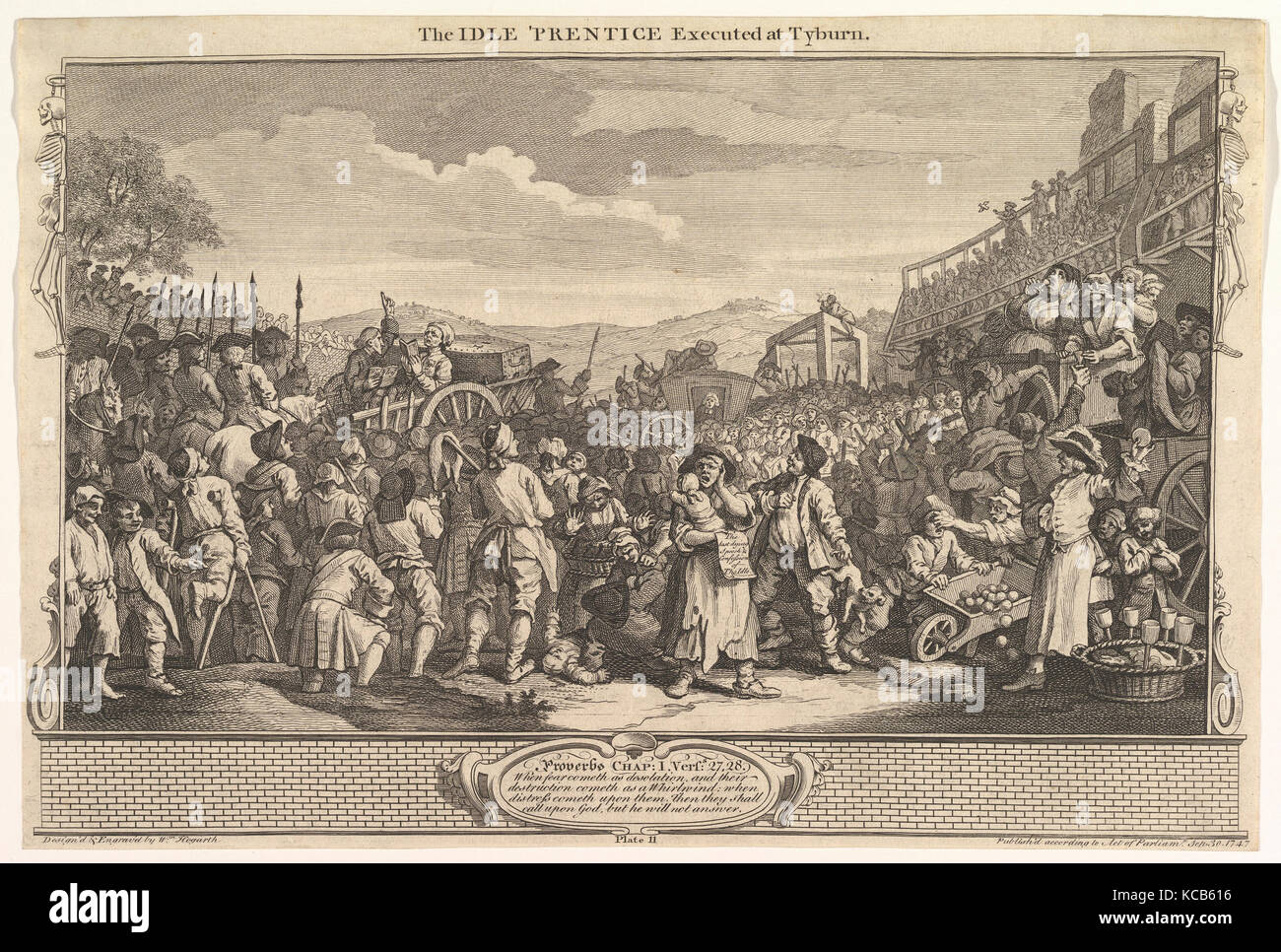 The Idle 'Prentice Executed at Tyburn: Industry and Idleness, plate 11, William Hogarth, September 30, 1747 Stock Photo