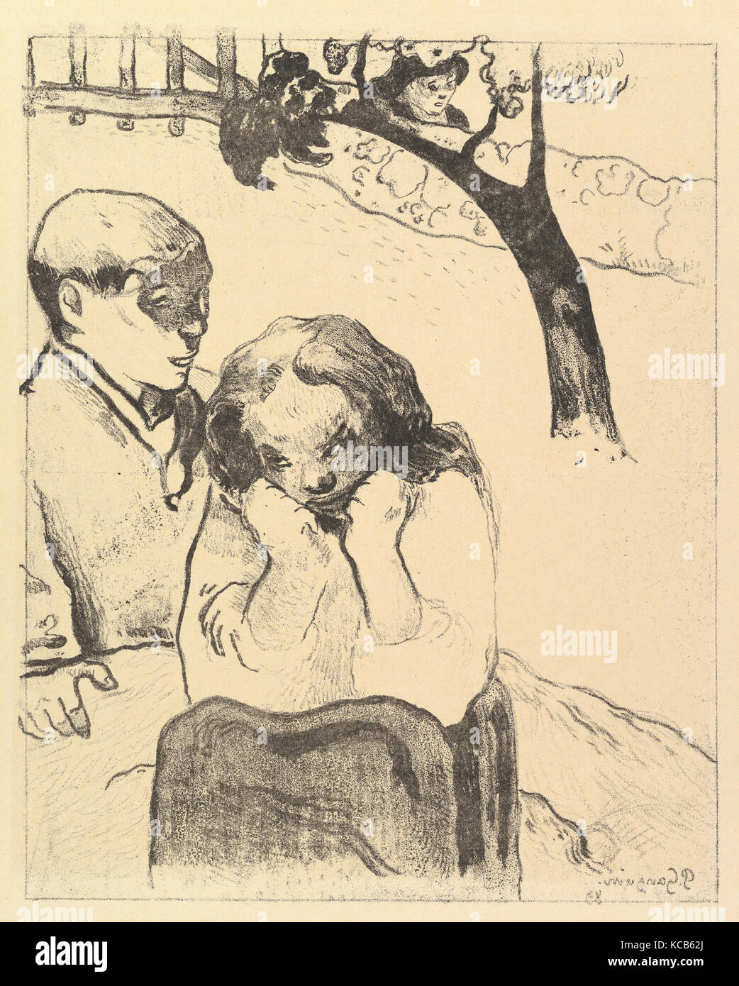 Human Misery, from the Volpini Suite: Dessins lithographiques, Paul Gauguin, 1889 - Stock Image