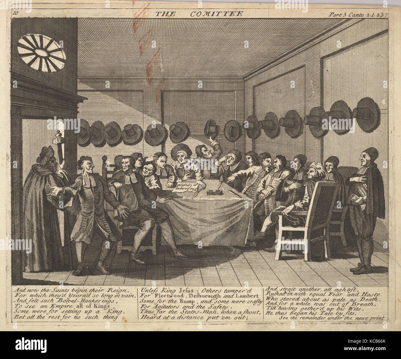 The Committee (Plate 10: Illustrations to Samuel Butler's Hudibras), After William Hogarth, 1725–30 Stock Photo