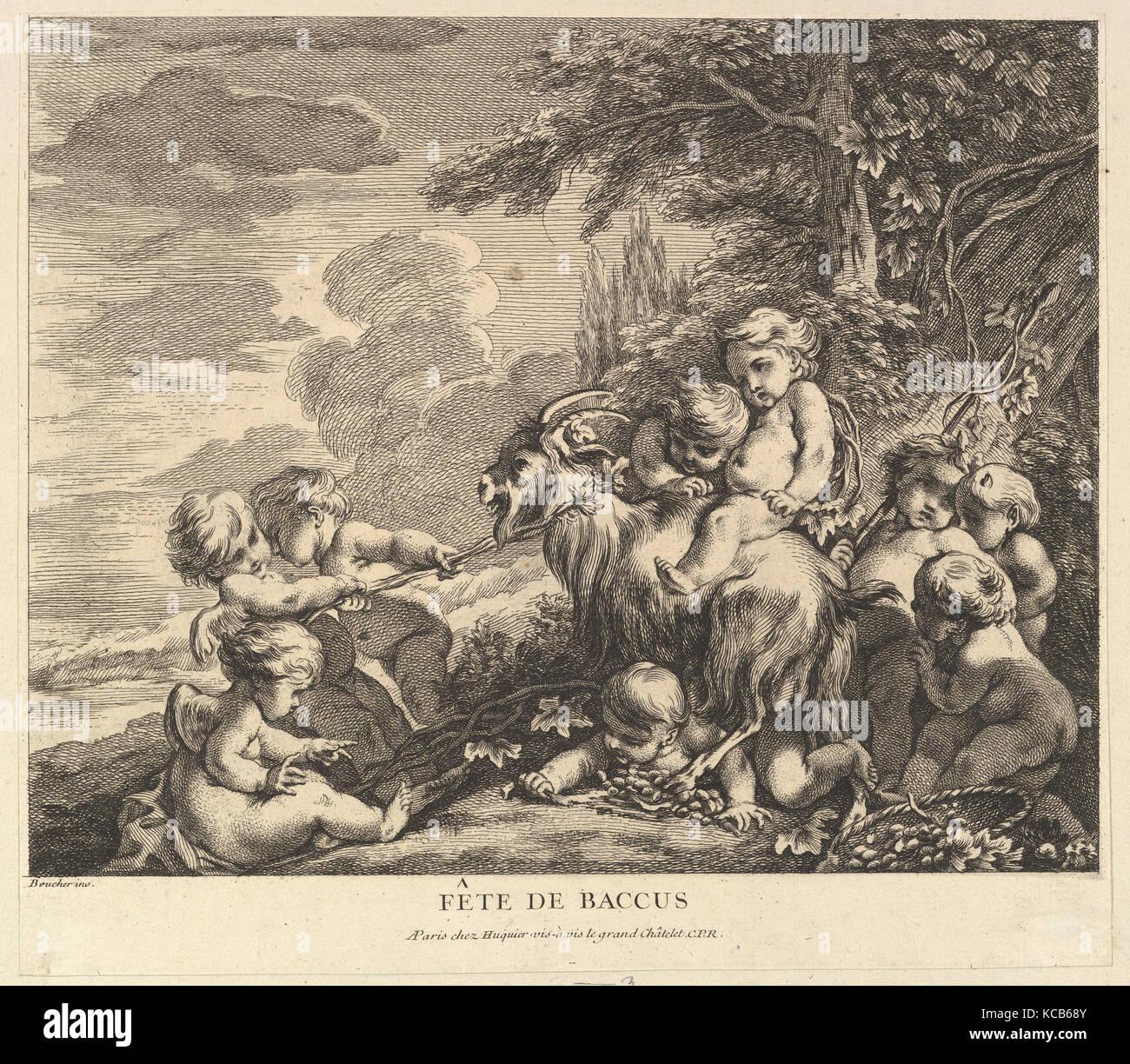 The Feast of Bacchus, Pierre Alexandre Aveline, ca. 1738 Stock Photo