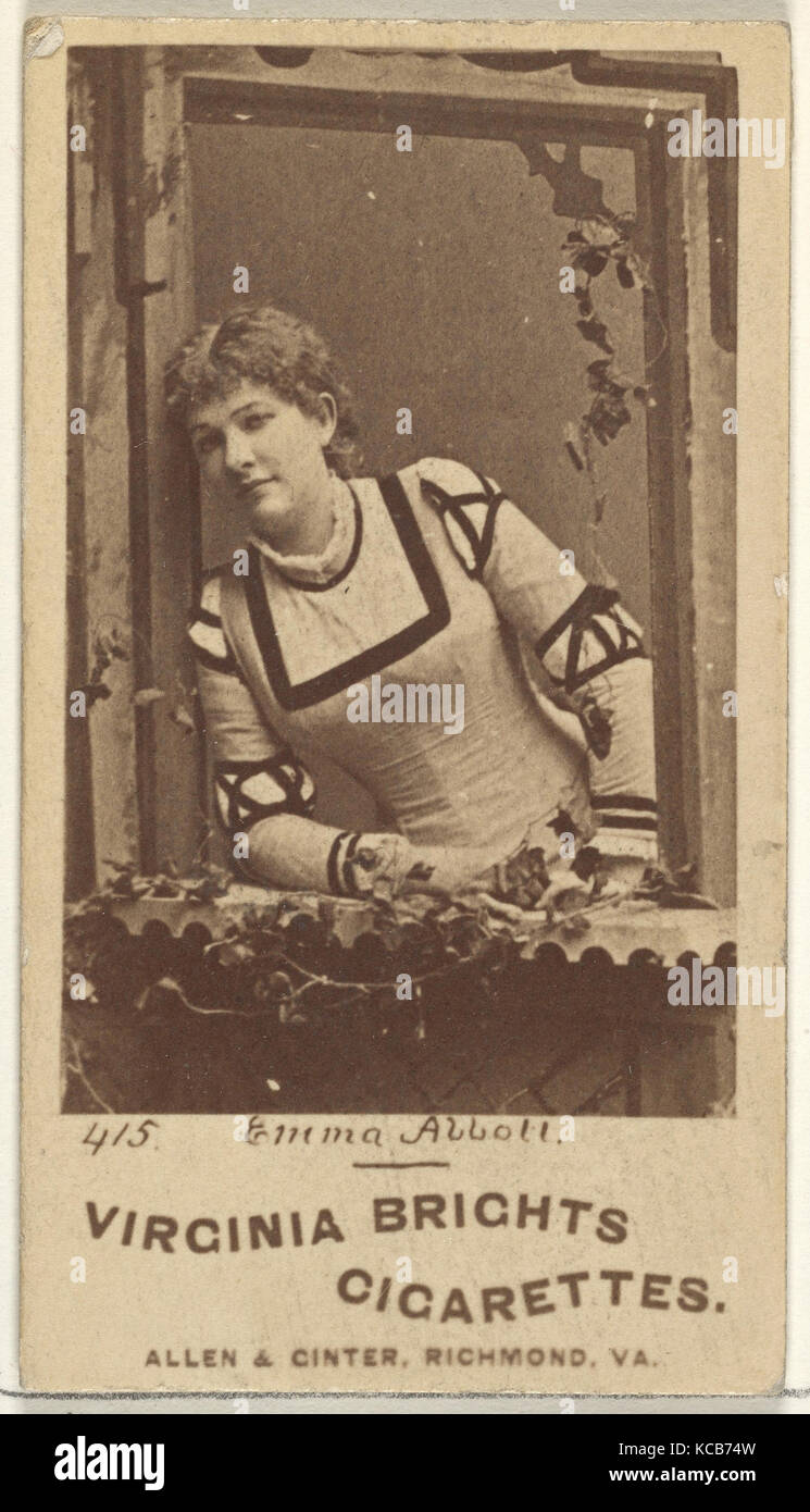 Card 415, Emma Abbott, from the Actors and Actresses series (N45, Type 1) for Virginia Brights Cigarettes, ca. 1888 - Stock Image