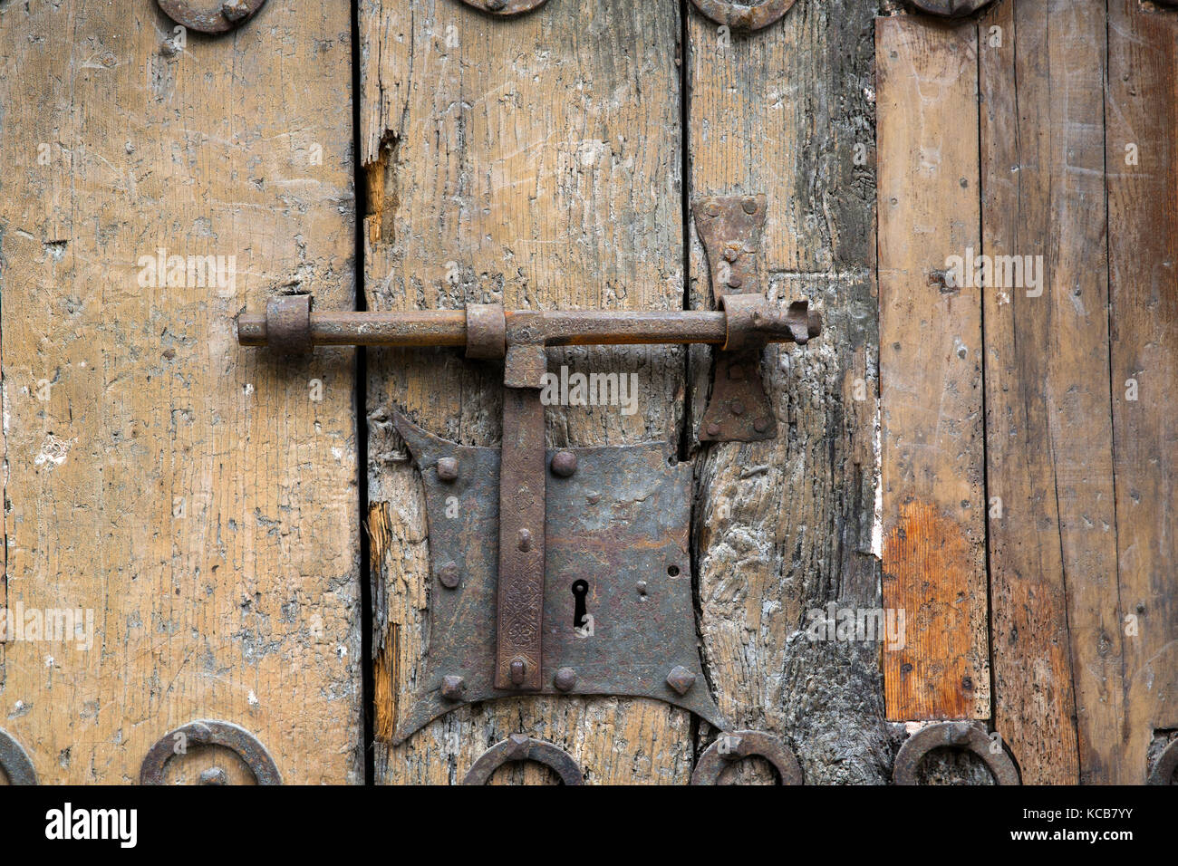 Detail of the doorway of the church of St Jacques, Villefranche-de-Conflent, Pyrénées-Orientales Stock Photo