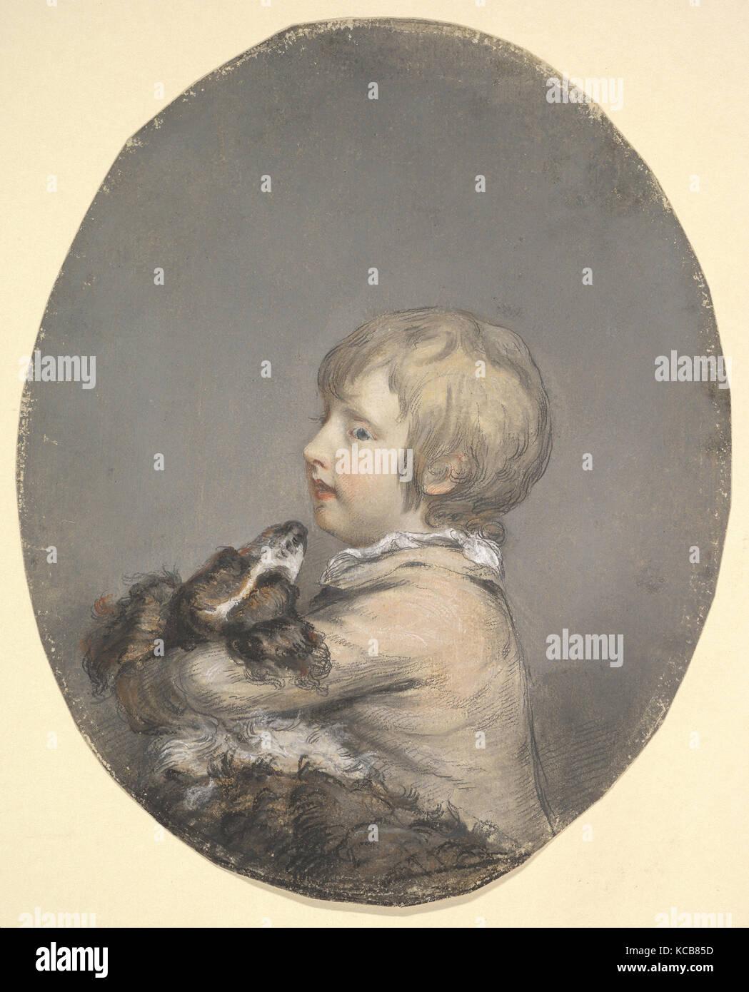 William Evelyn of St Clere, Kent, Holding a Spaniel, Hugh Douglas Hamilton, ca. 1768–89 - Stock Image