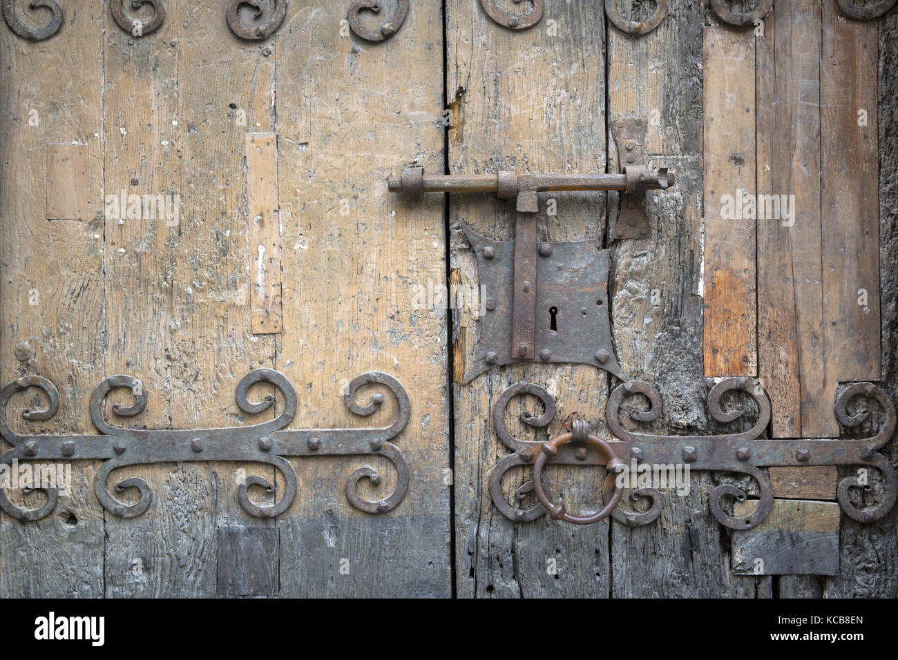Detail of the doorway of the church of St Jacques Villefranche-de-Conflent, Pyrénées-Orientales - Stock Image