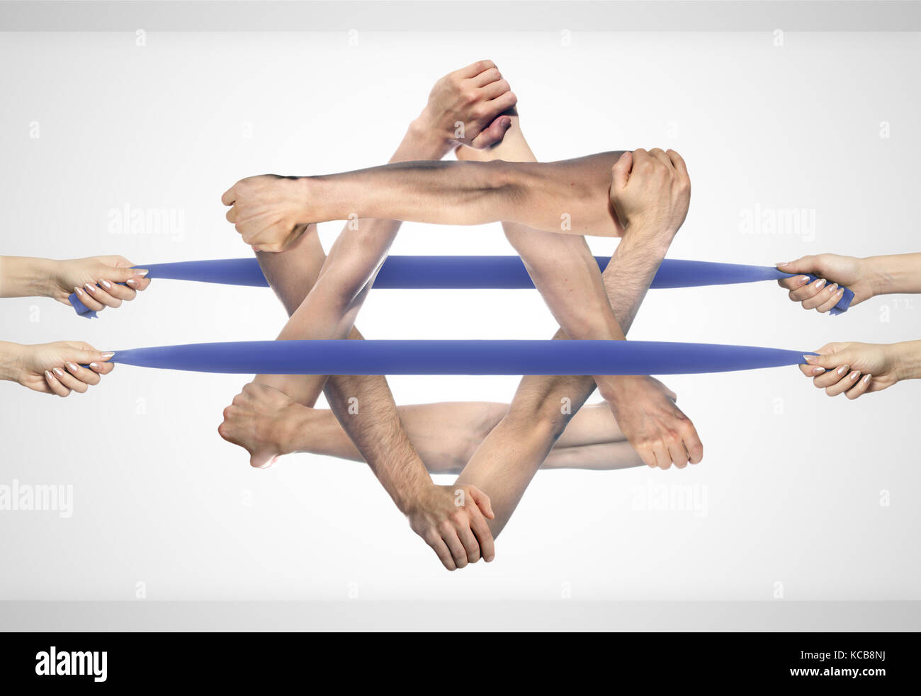Israeli flag or Star of David made of holding hands - Stock Image