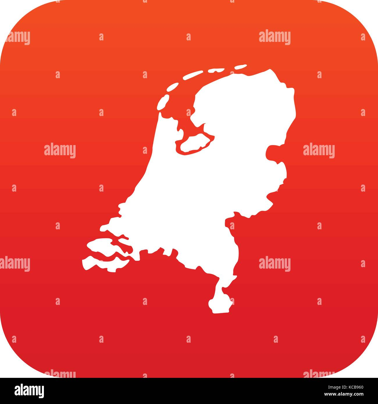 Holland map icon digital red Stock Vector