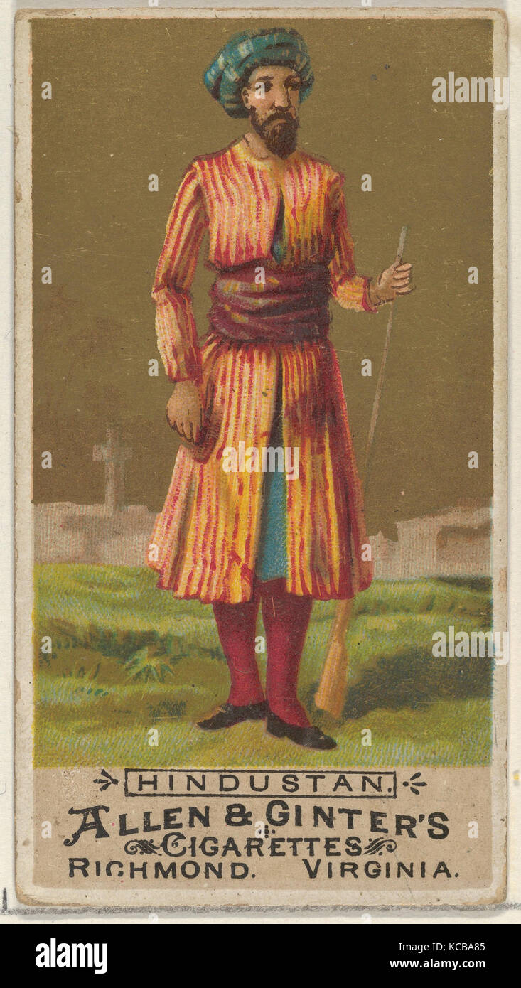 Hindustan, from the Natives in Costume series (N16) for Allen & Ginter Cigarettes Brands, 1886 - Stock Image