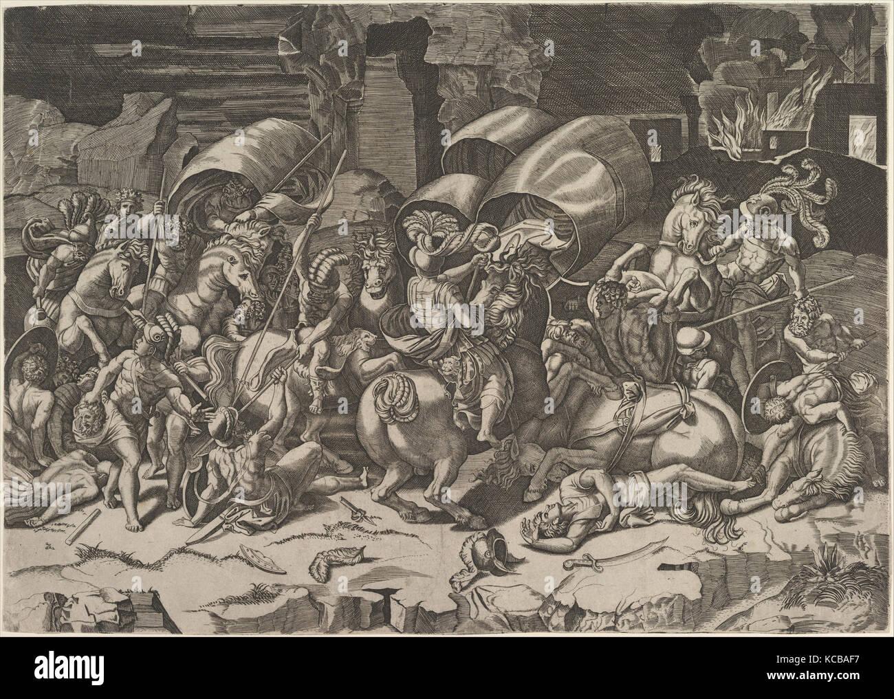 Battle with a Cutlass, ca. 1515–27, Engraving, sheet: 12 11/16 x 18 ...