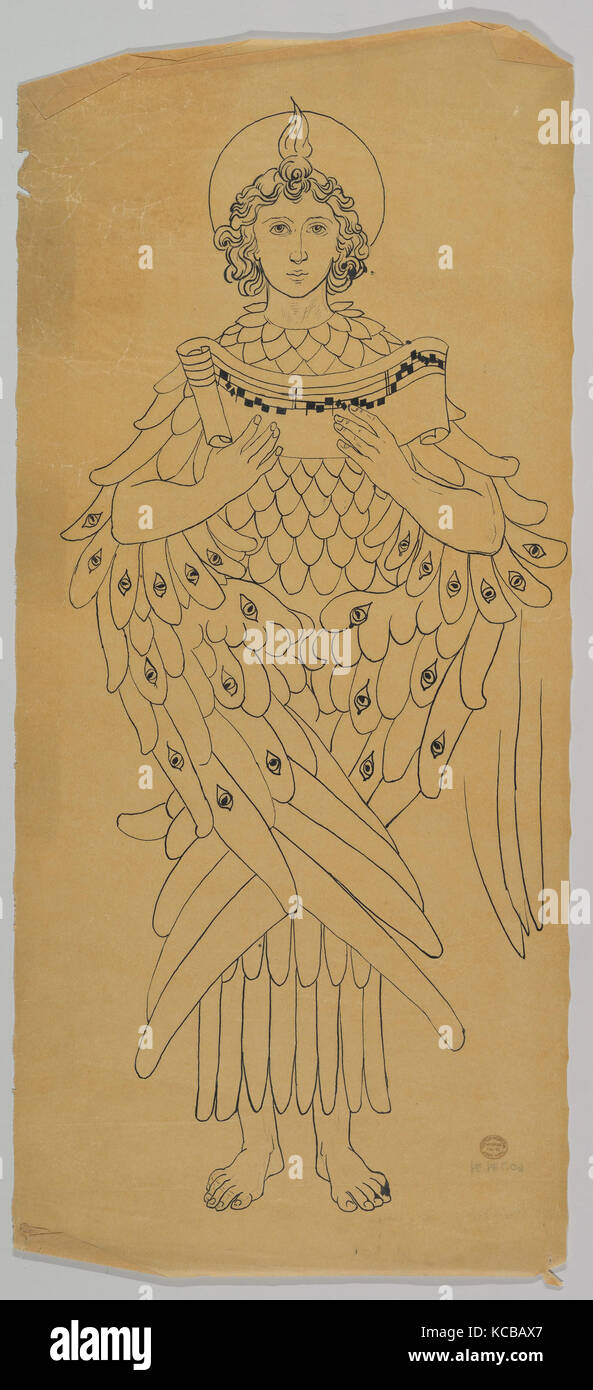 Tracing of an archangel or Seraphim, Ernest Geldart, late 19th–early 20th century - Stock Image