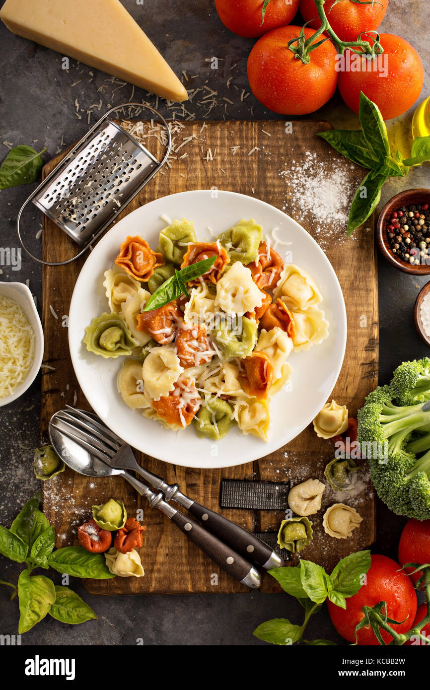 Red, white and green tortellini with vegetables and cheese - Stock Image