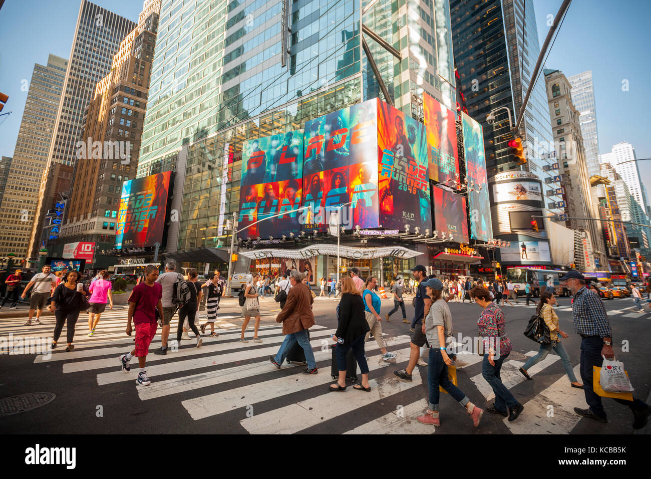 Advertising for the Warner Bros. Pictures'  'Blade Runner 2049' film is seen in Times Square in New - Stock Image