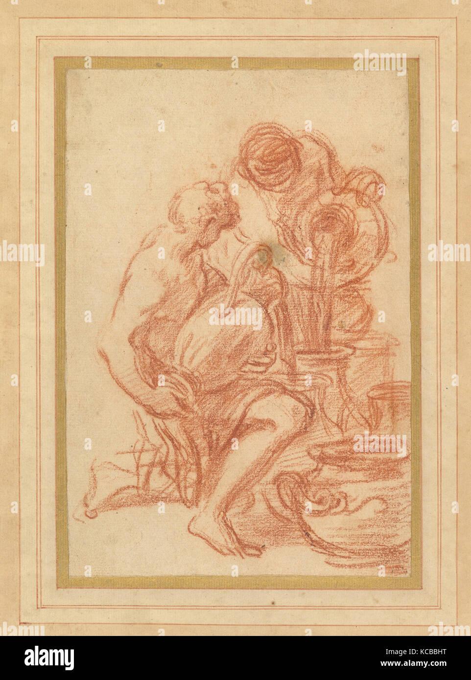 Servants Filling Urns, Francisco Vieira de Mattos, 18th century - Stock Image