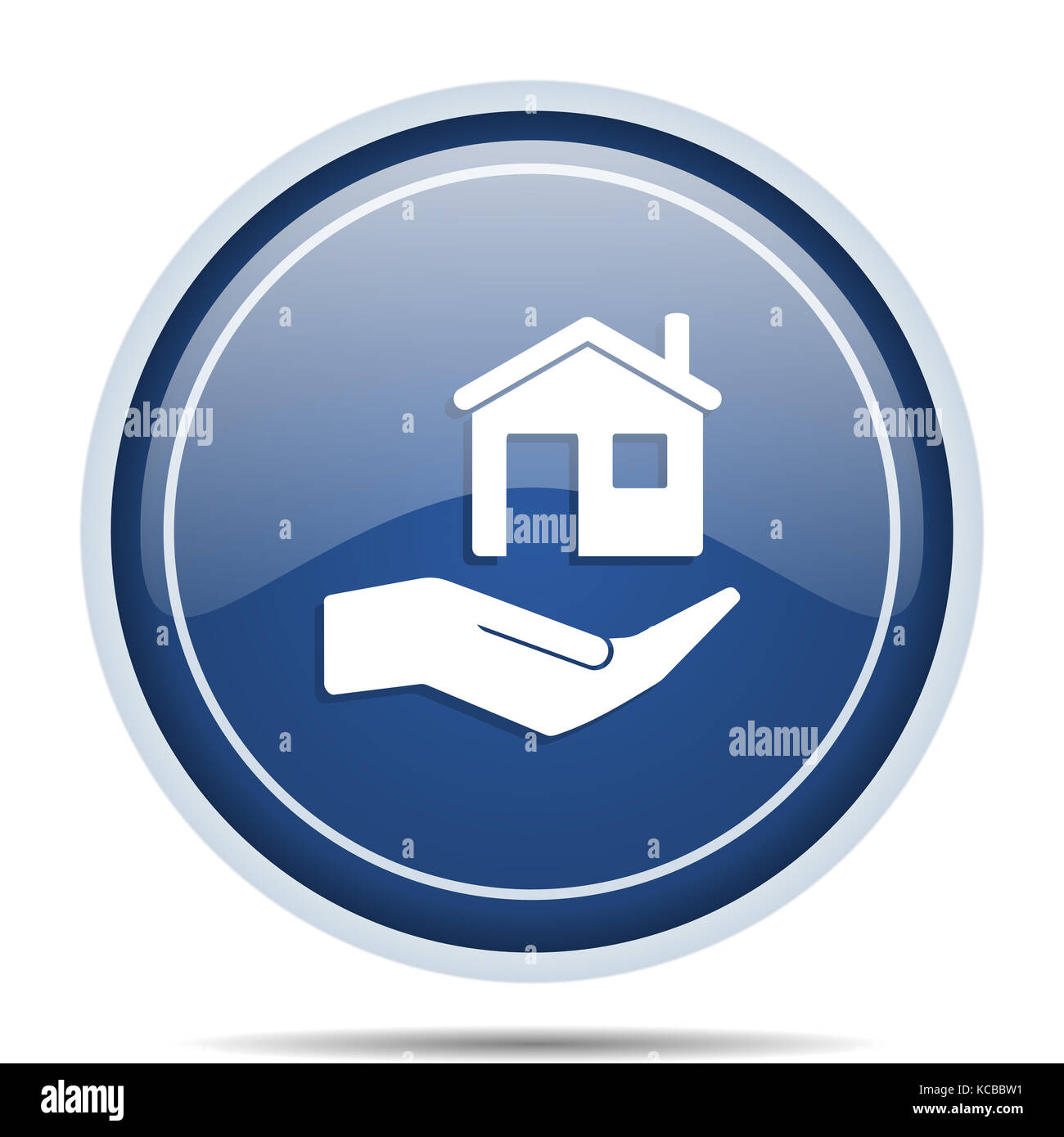 House care blue round web icon. Circle isolated internet button for webdesign and smartphone applications. - Stock Image
