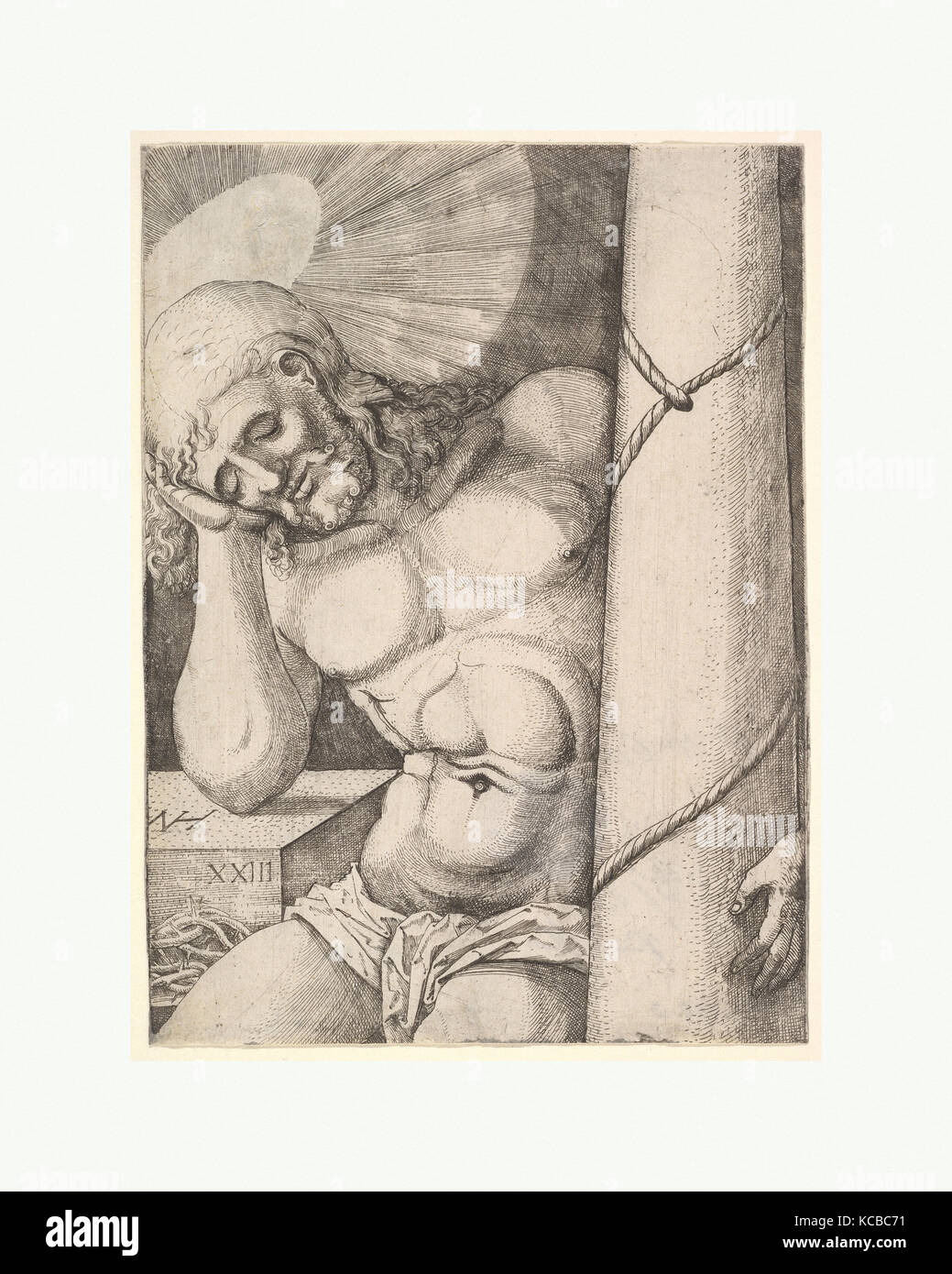 The Man of Sorrows at the Column, Nikolaus Hogenberg, 1523 - Stock Image