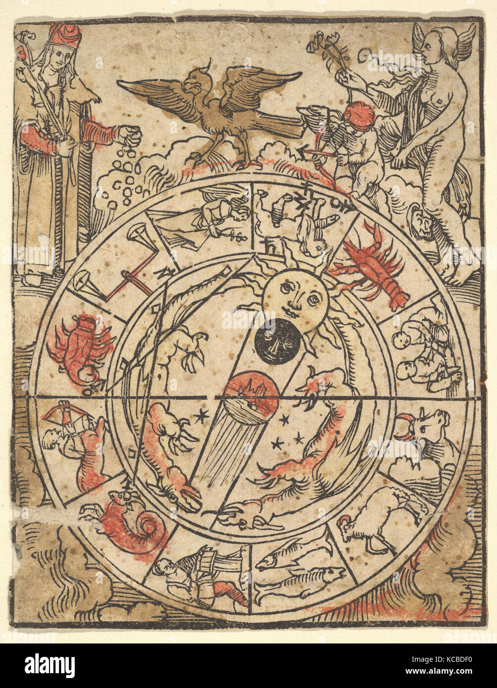 Chart of the Signs of the Zodiac with Venus, Cupid, and a Bishop Saint, Hans Baldung - Stock Image