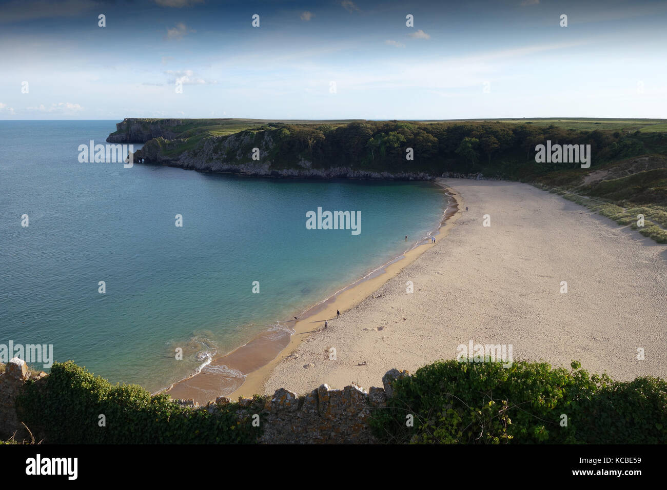 Barafundle Bay in Pembrokeshire, West Wales, Uk - Stock Image