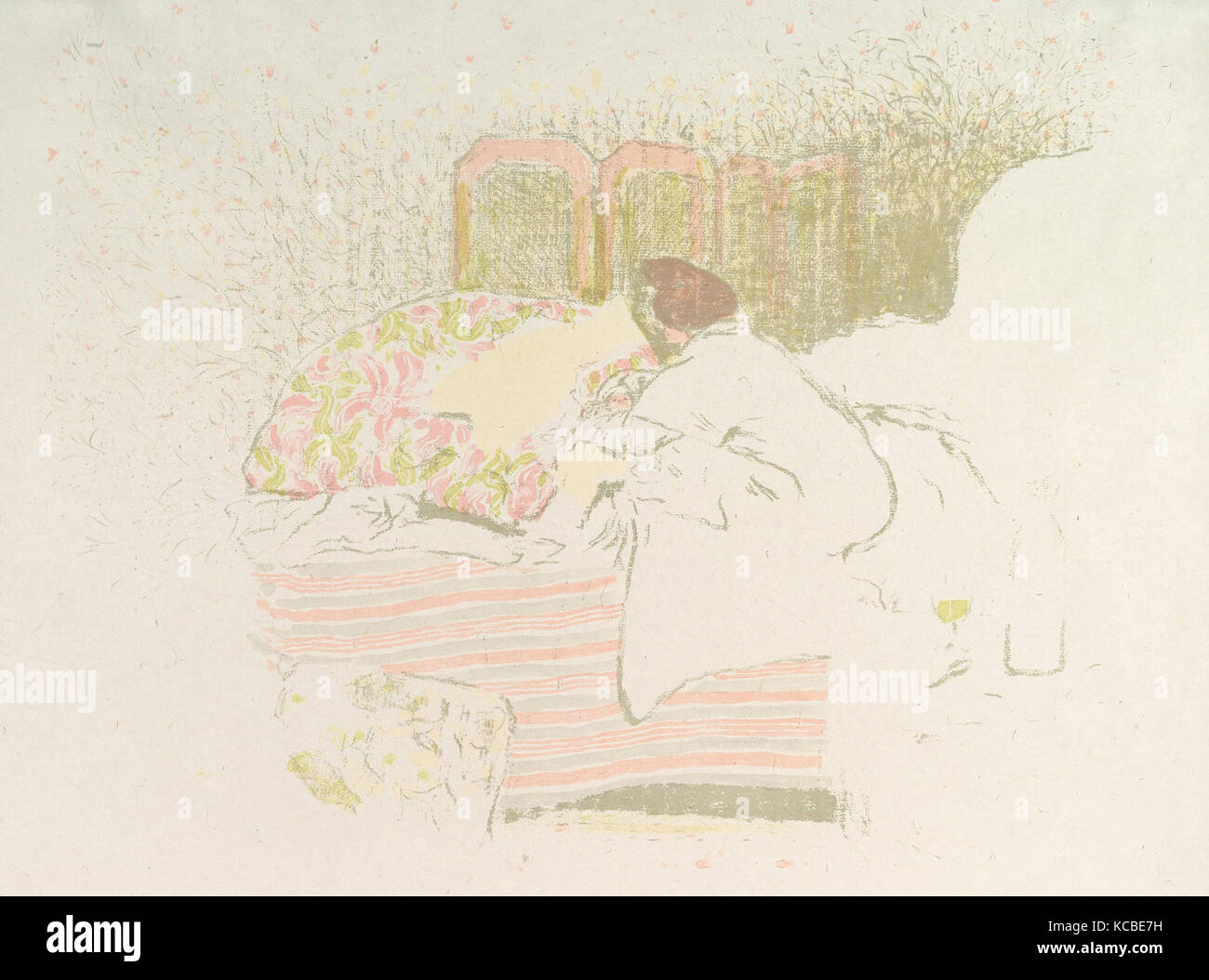 The Birth of Annette, ca. 1899, Color lithograph on China paper; trial proof of undescribed early state, sheet: - Stock Image
