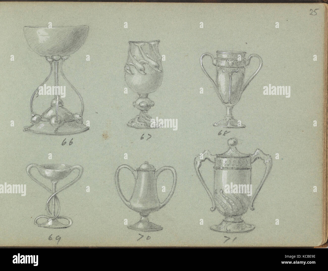 Six Designs for Drinking Vessels, Edgar Gilstrap Simpson, 1899 - Stock Image