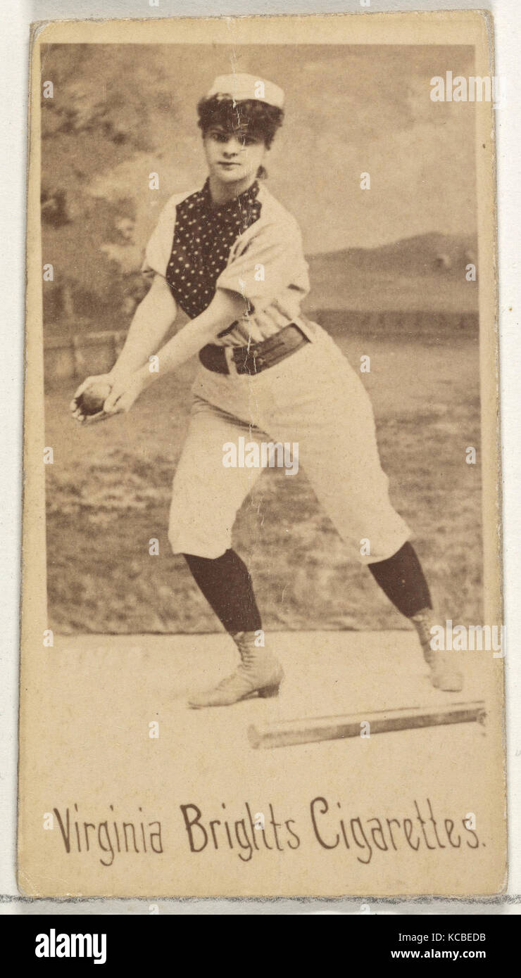 From the Girl Baseball Players series (N48, Type 1) for Virginia Brights Cigarettes, 1886 - Stock Image