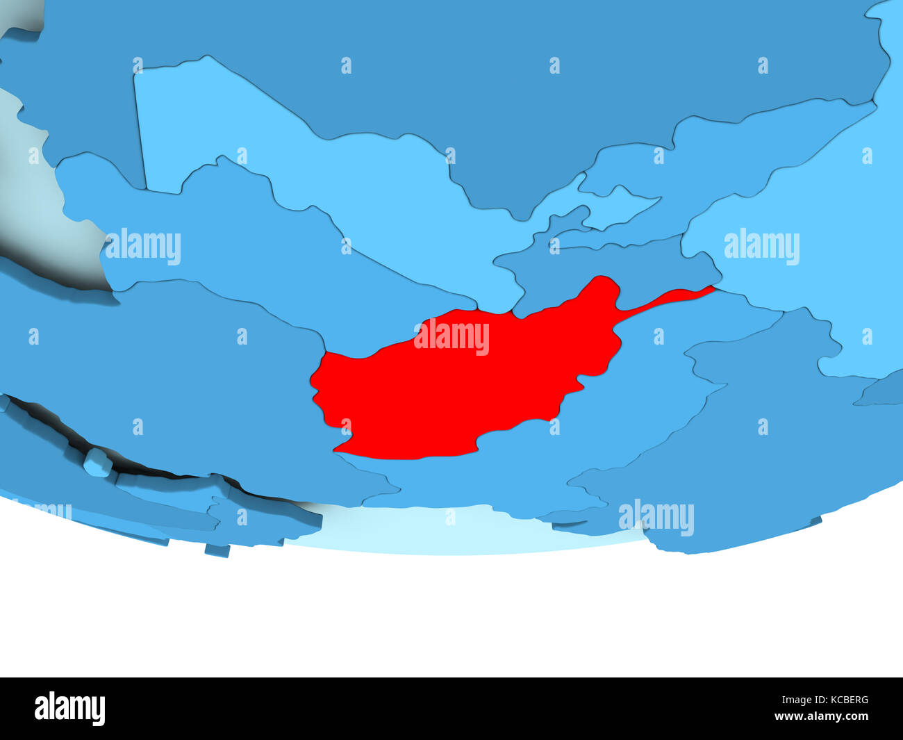 Illustration Of Afghanistan Highlighted In Red On Blue Globe 3d