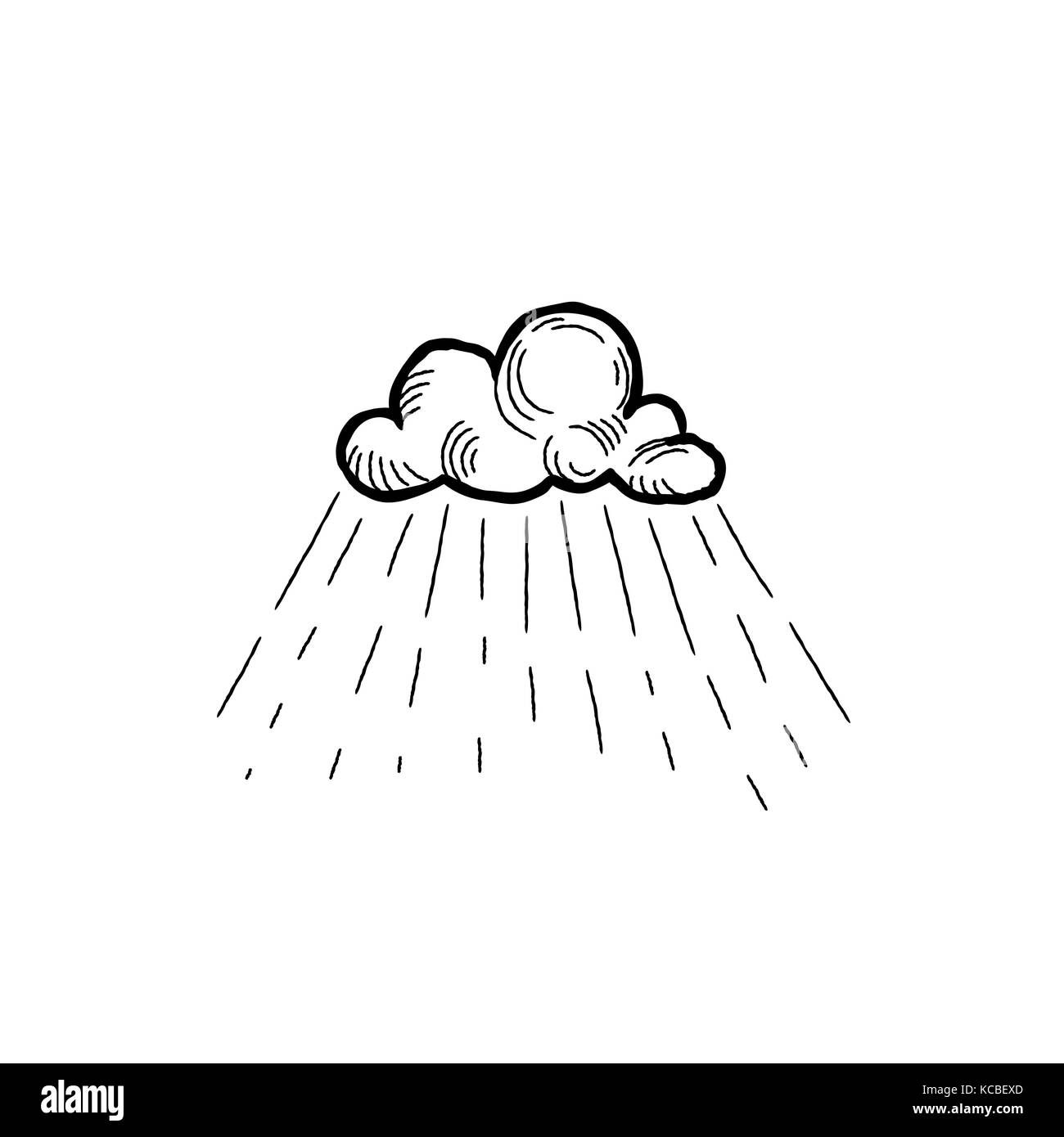 Rain icon. Hand drawn cloud with rain droplets. Weather sign - Stock Image