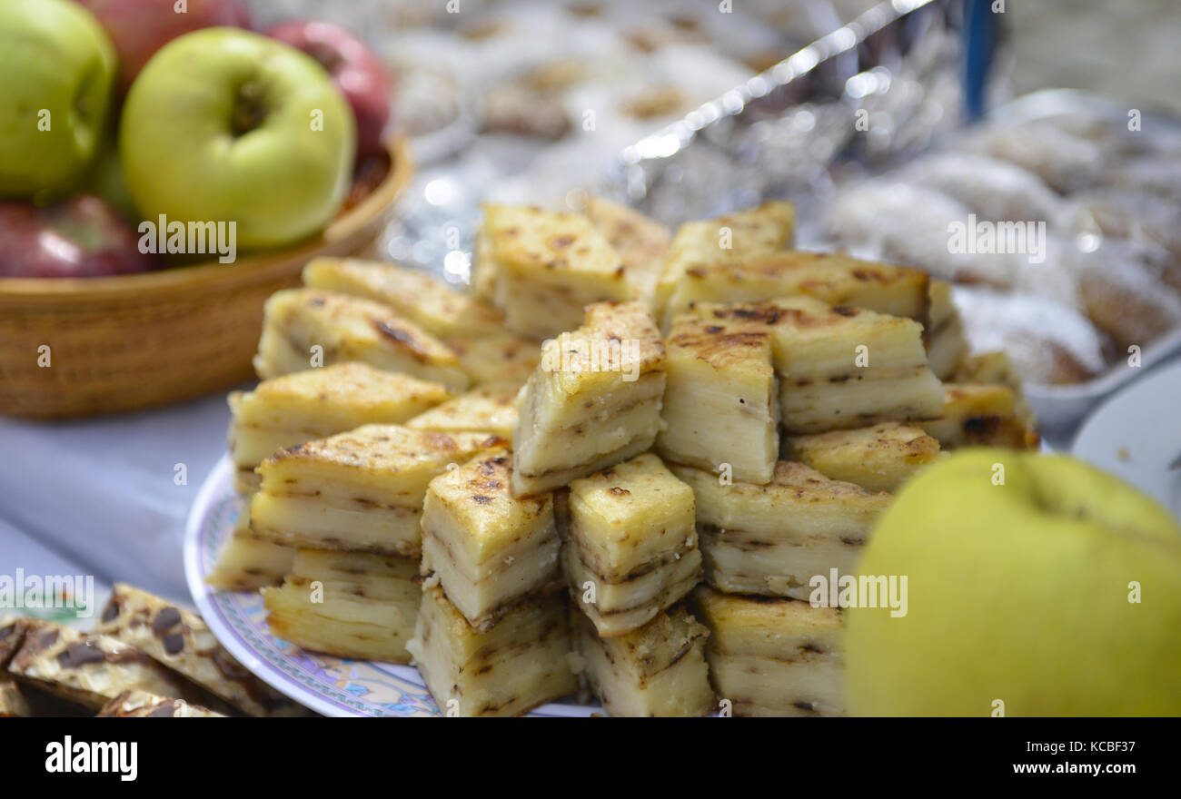 traditional homemade pastry called gomleze in macedonia,image of a - Stock Image