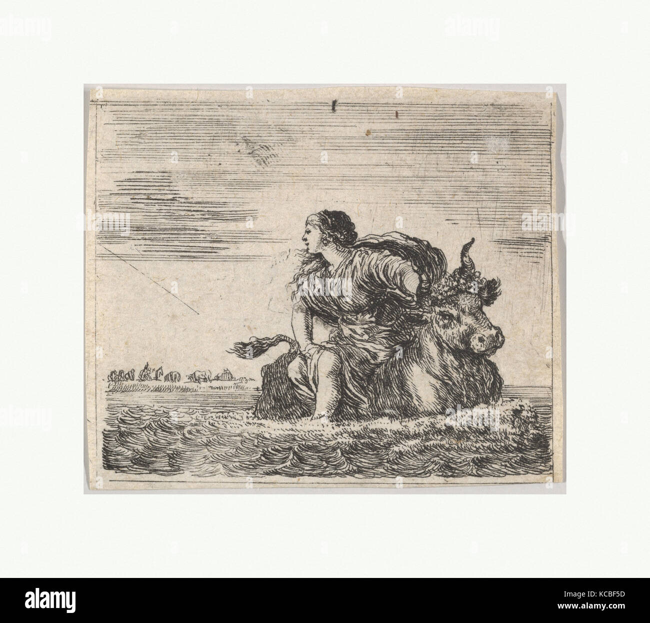 Jupiter and Europa, from 'Game of Mythology' (Jeu de la Mythologie), Stefano della Bella, 1644 - Stock Image
