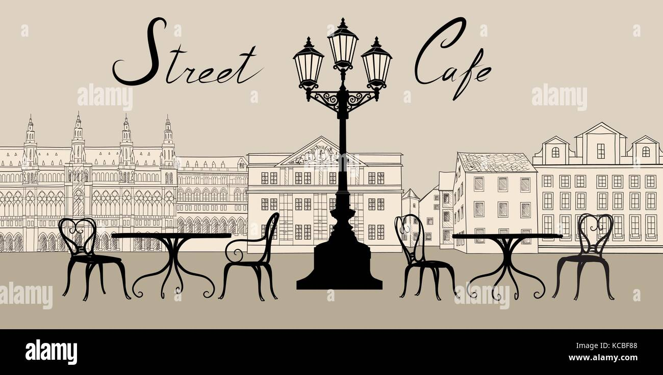Retro city view. Cityscape with building facade. Street cafe design elements with lettering - Stock Vector