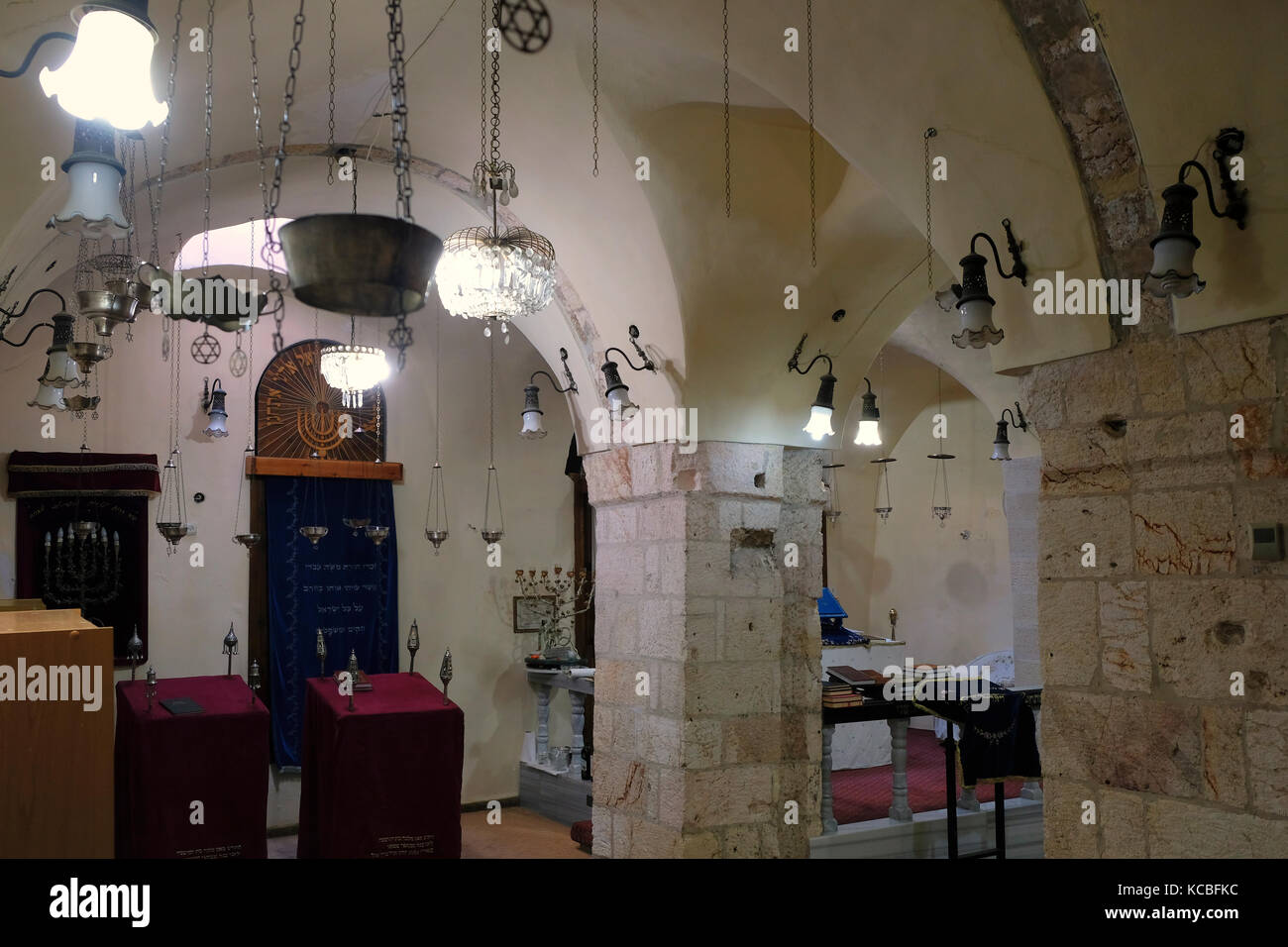 Interior of the Karaite synagogue the oldest active synagogue in Jerusalem built in the 8th century for the Karaites Stock Photo