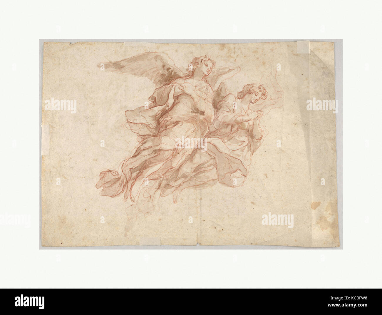 Two Angels Flying; verso: God the Father Seated in the Clouds and a Sketch of a Figure Flying, Cosmas Damian Asam, - Stock Image