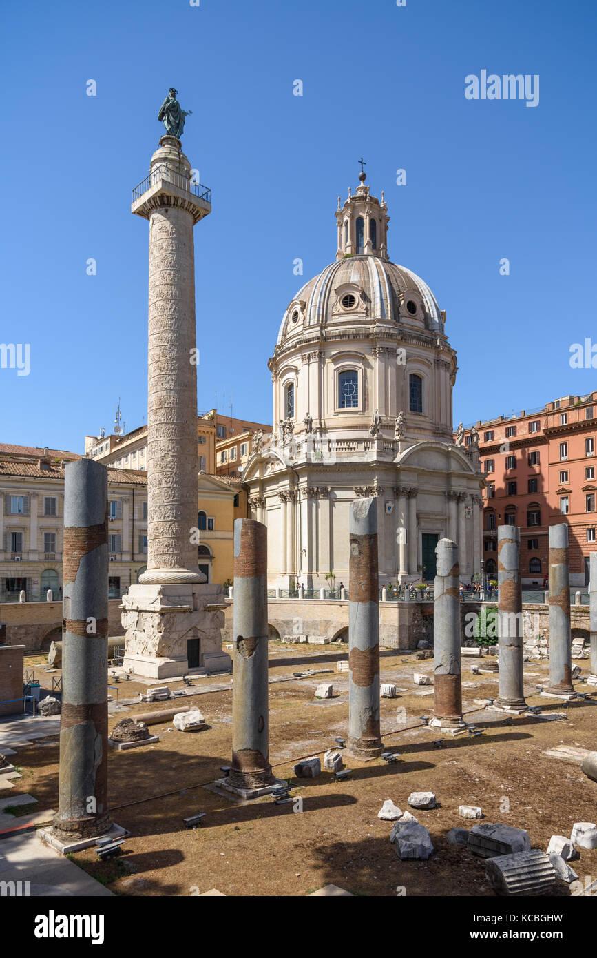Trajan's Column in Trajan's Forum, Rome, Italy - Stock Image