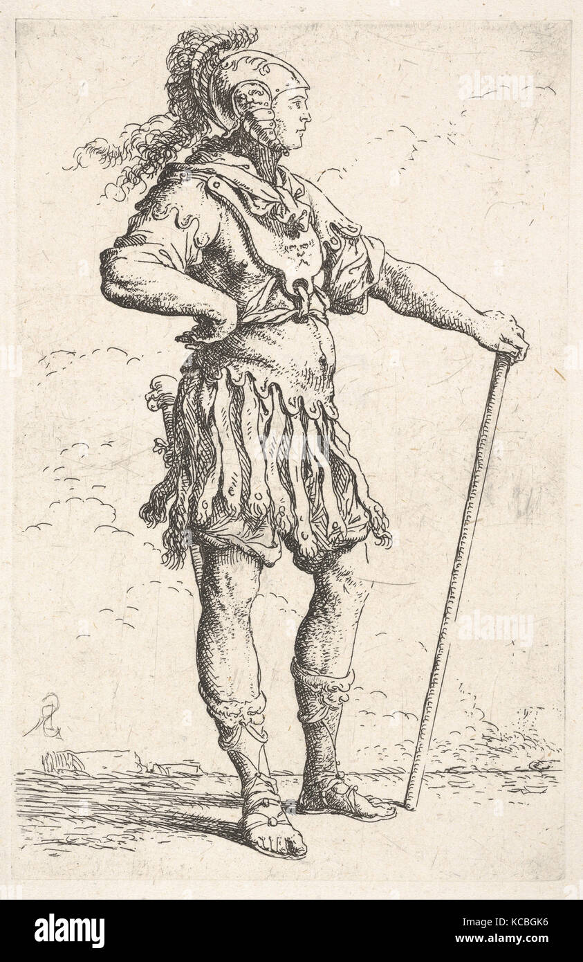 A warrior facing right wearing a plumed helmet and holding a staff, from the series 'Figurine', Salvator Rosa, ca. Stock Photo