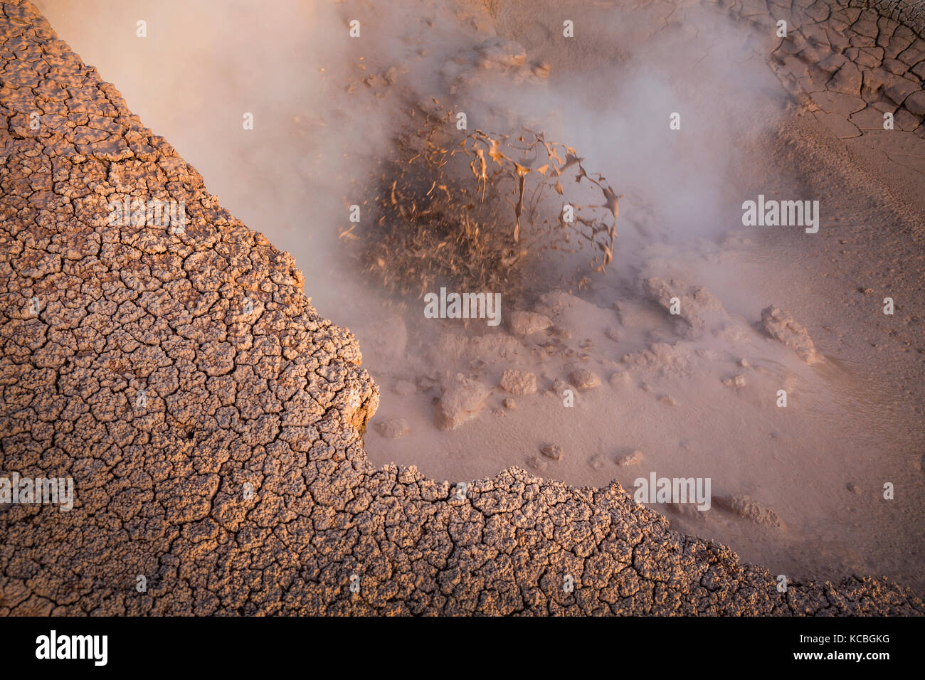 Close-up view of fumarole eruption - Stock Image