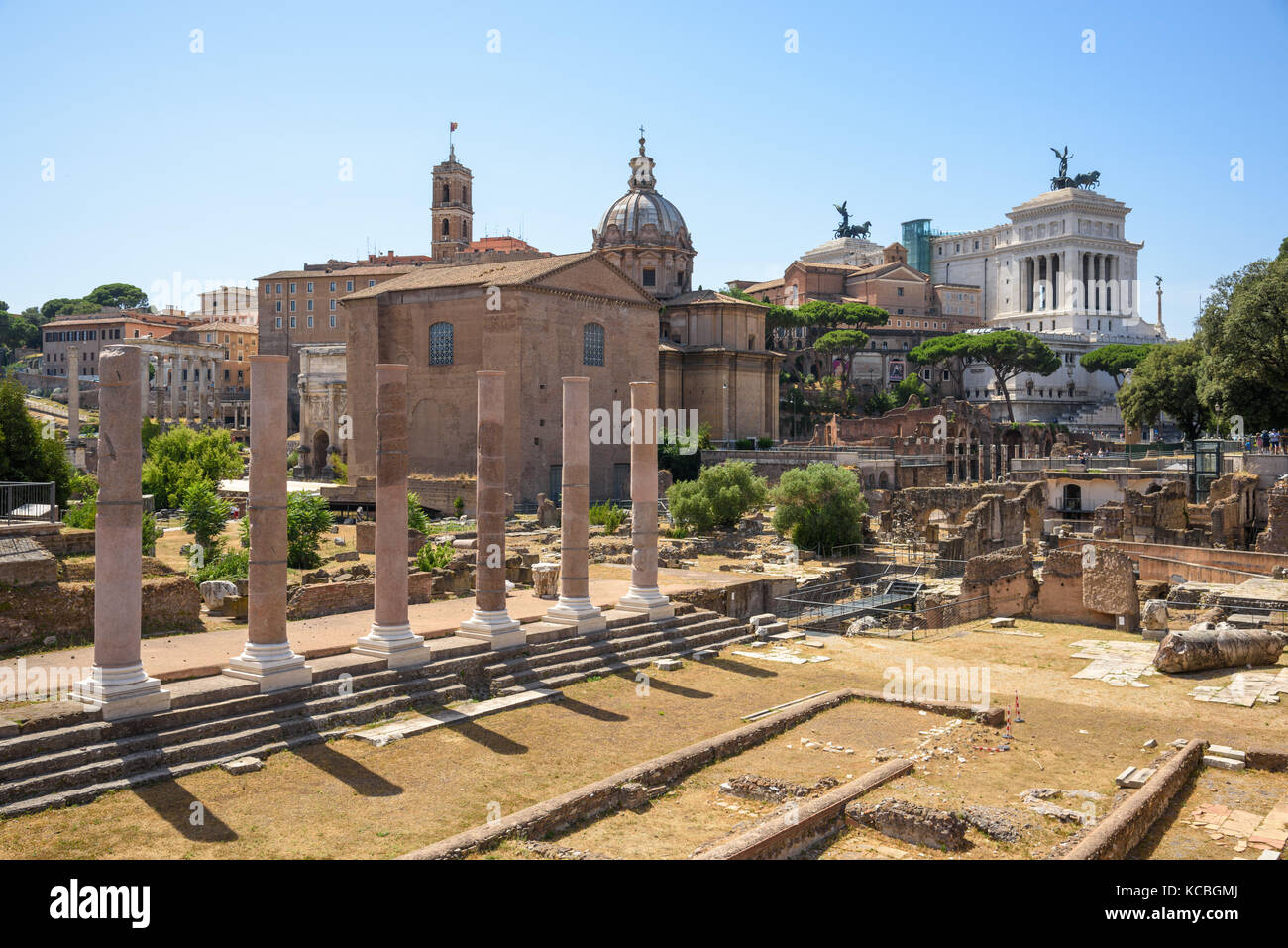 Temple of Peace, Forum of Vespasian, Rome, Italy - Stock Image