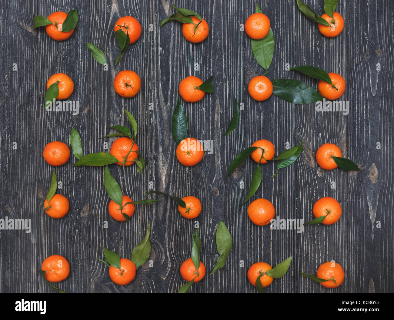The new crop of tangerines lying in a row on dark wooden textural background Stock Photo