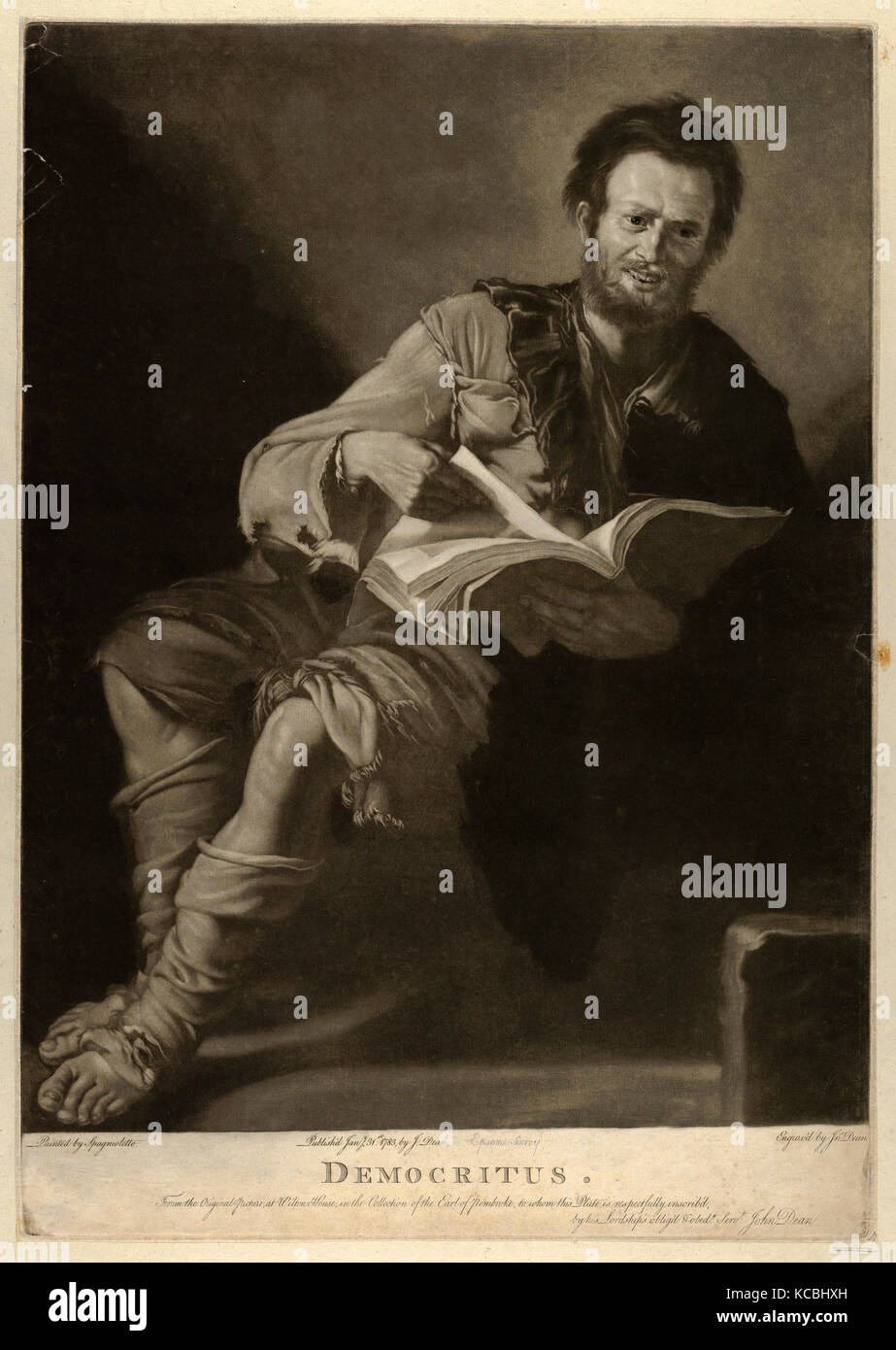 Drawings and Prints, Print, Democritus, seated, holding a book and looking towards the viewer, Artist, After, Jusepe - Stock Image