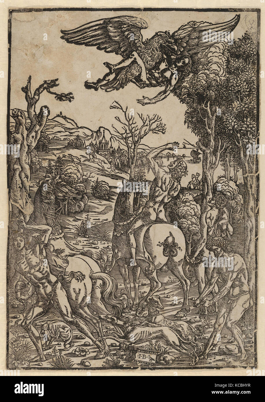 Drawings and Prints, Print, Zeus as an eagle, abducting Ganymede, Artist, Giovanni Battista Palumba, Italian, active - Stock Image