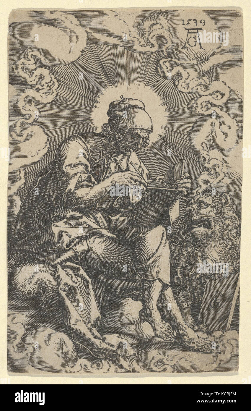 Saint Mark, from The Four Evangelists, Heinrich Aldegrever, 1539 - Stock Image