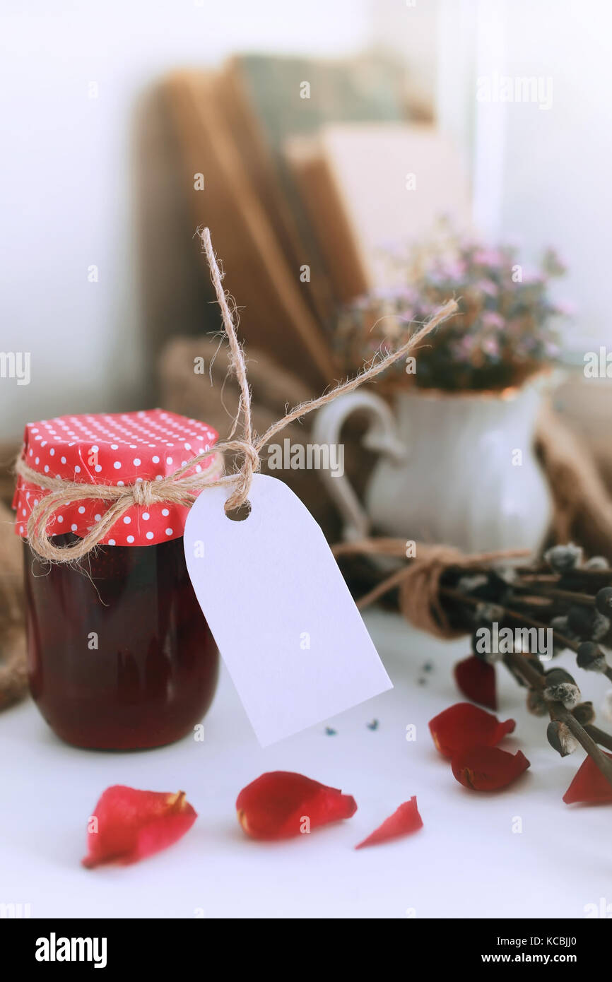 harvest rustic homemade jam - Stock Image