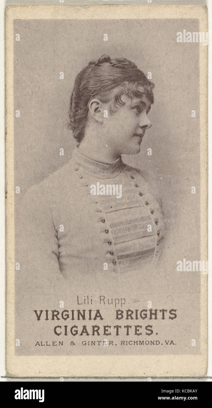 Lili Rupp, from the Actresses series (N67) promoting Virginia Brights Cigarettes for Allen & Ginter brand tobacco - Stock Image