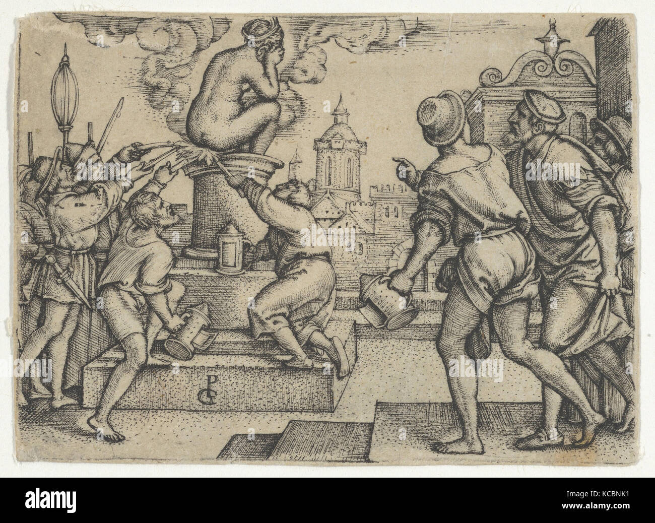 The Courtesan Punished, from The Story of the Magician Virgil, Georg Pencz Stock Photo