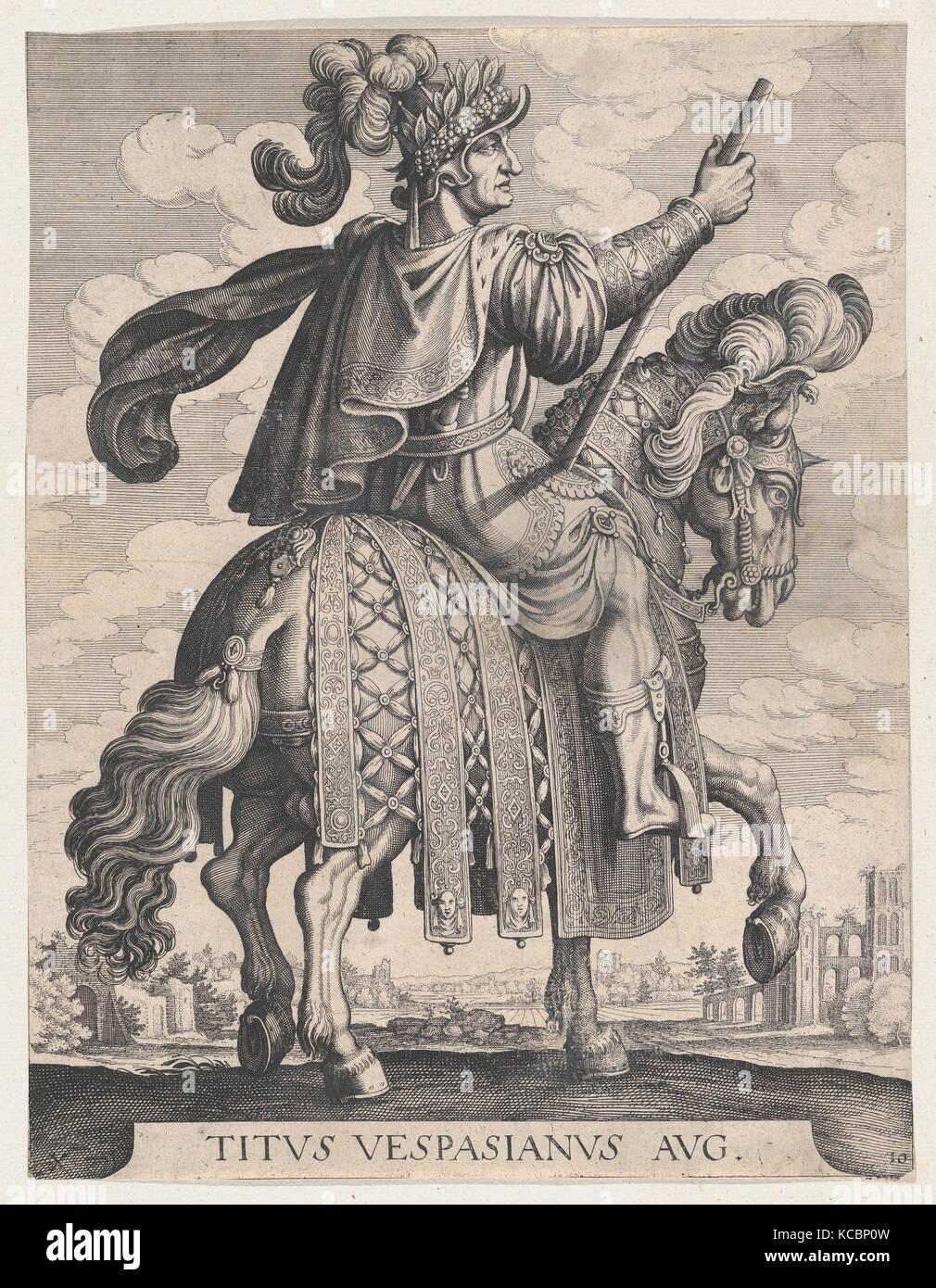 Plate 10: Emperor Titus on Horseback, from 'The First Twelve Roman Caesars' after Tempesta, Matthäus Merian the Elder, 1610–50 Stock Photo